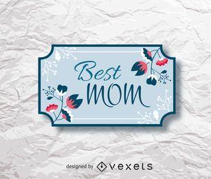 Etiqueta de regalo floral del día de la madre