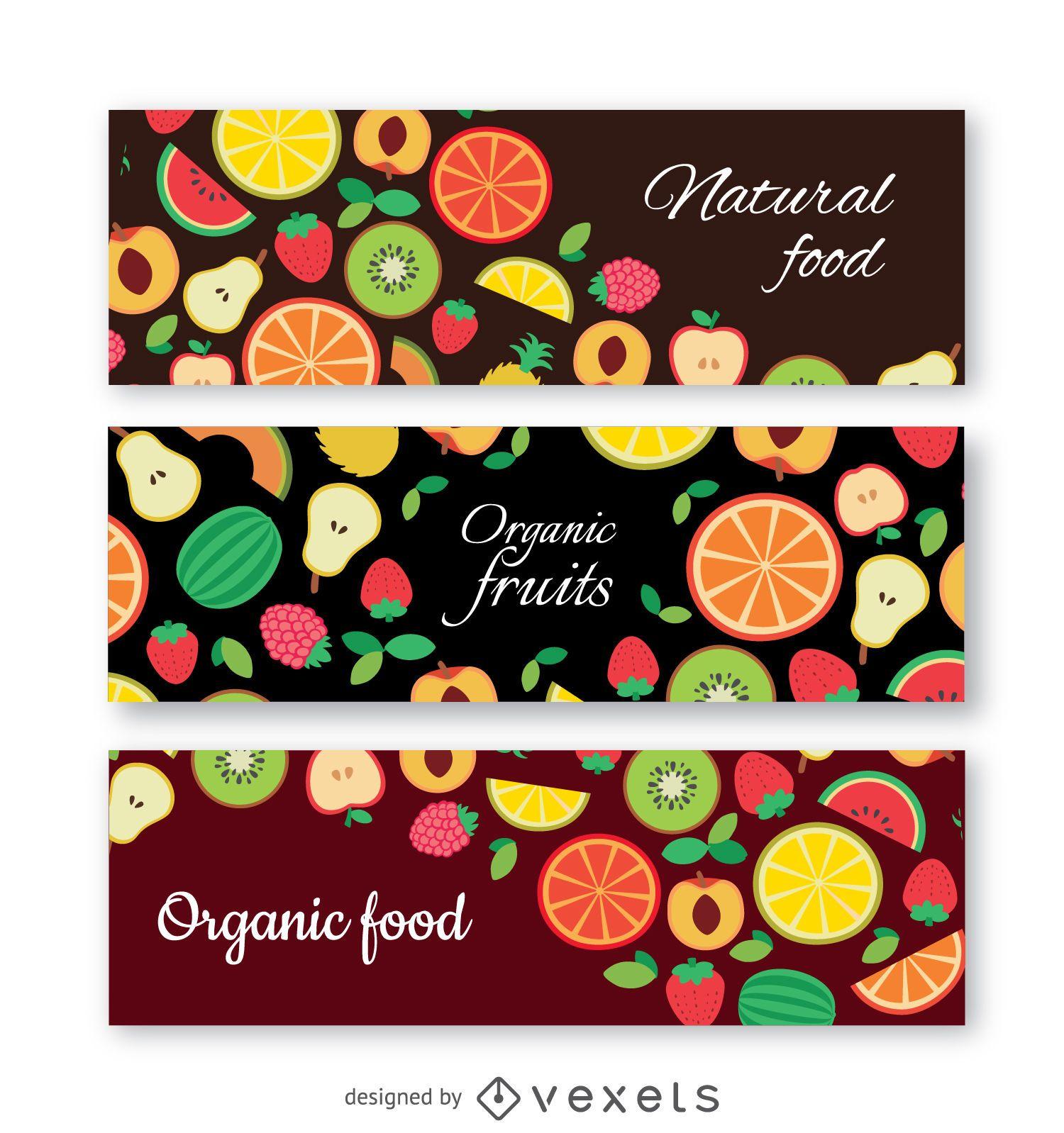 Conjunto de banners de frutas orgánicas