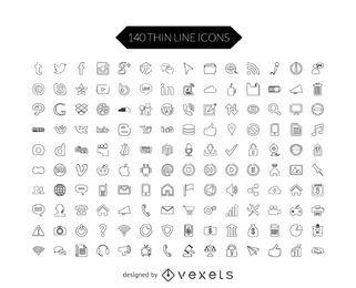 Conjunto de iconos de los medios sociales