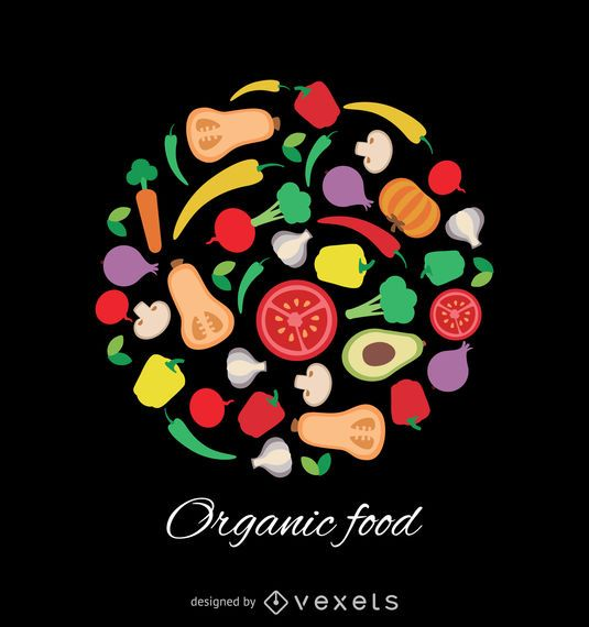 Vector de alimentos naturales sobre fondo negro
