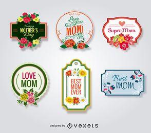 Día de la Madre insignias conjunto