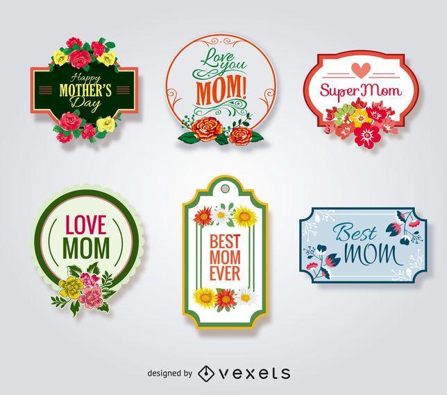 Conjunto de emblemas do dia das mães