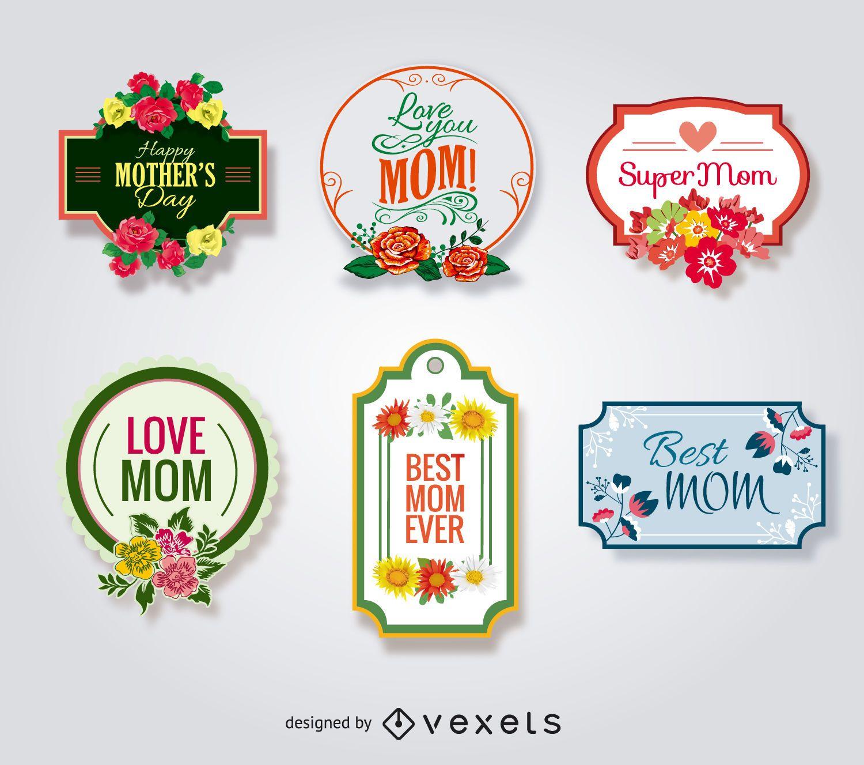 Conjunto de insignias del d?a de la madre
