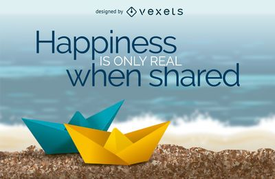 Happiness is only real when shared poster