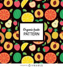 Patrón sin fisuras de fruta orgánica plana