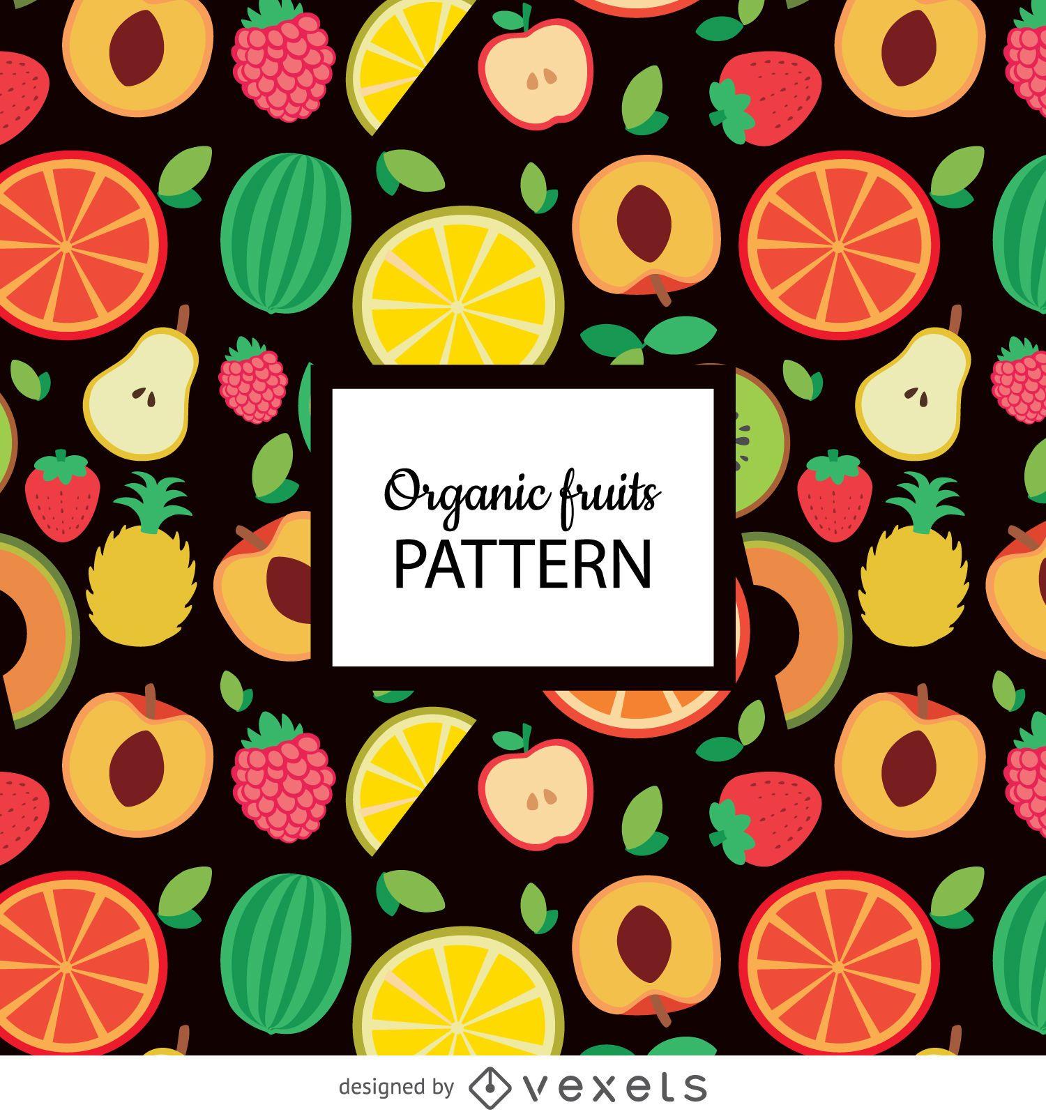 Flat organic fruit seamless pattern