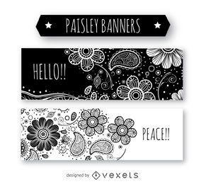 Schwarzweiss-Paisley-Bannersatz