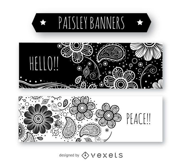 Conjunto de banners paisley en blanco y negro
