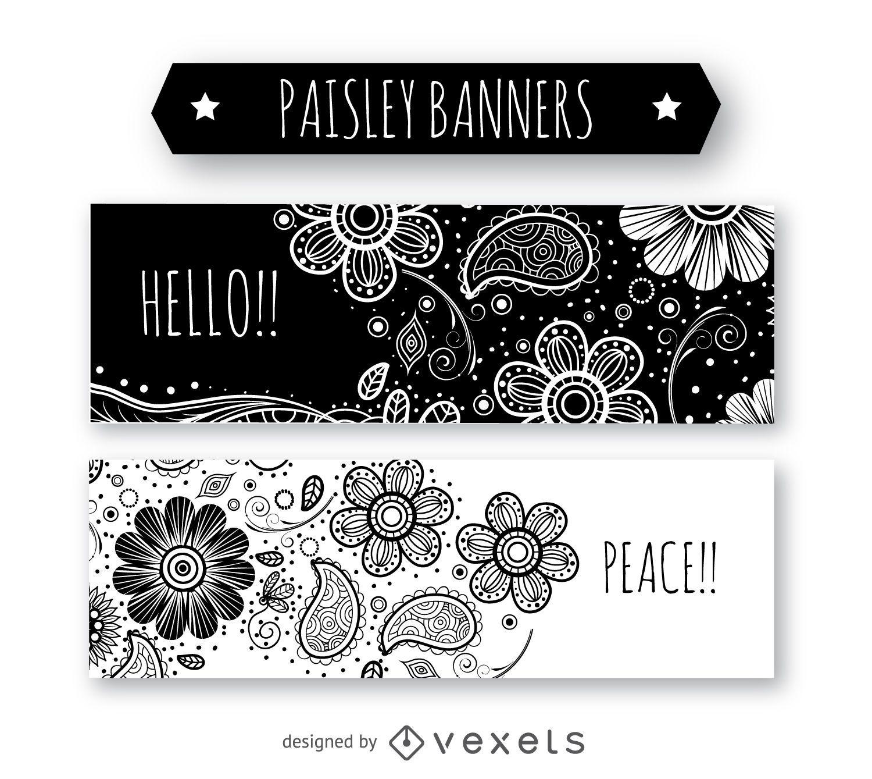 Black and white paisley banner set