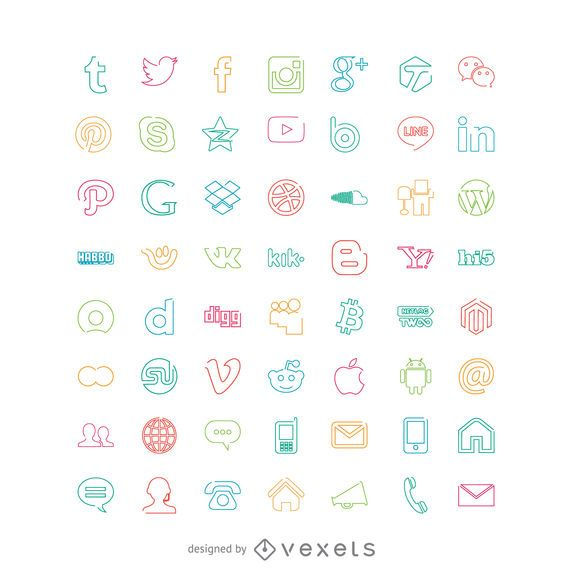 Conjunto de ícones sociais em cores brilhantes