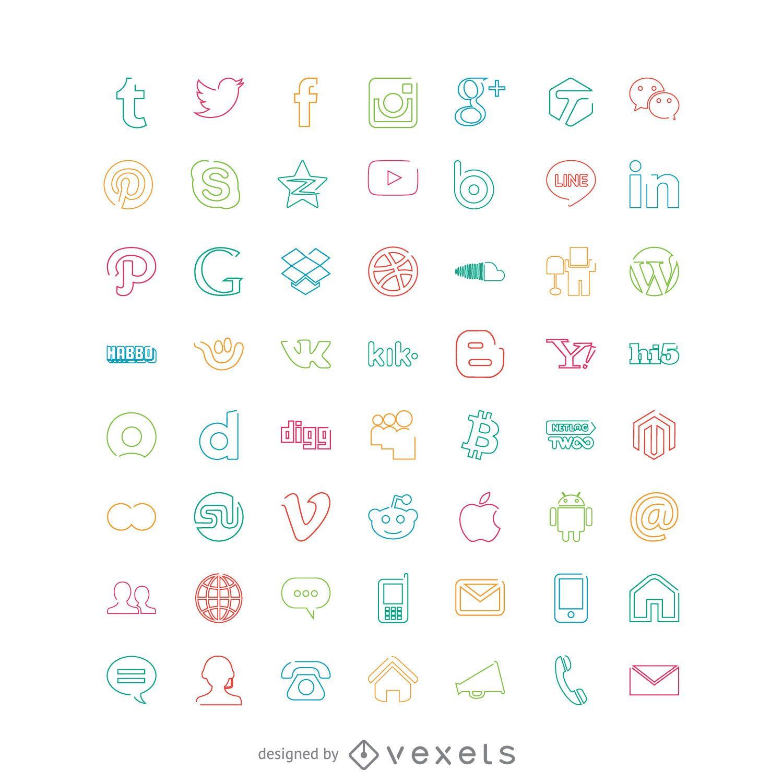 Ícones sociais em cores brilhantes