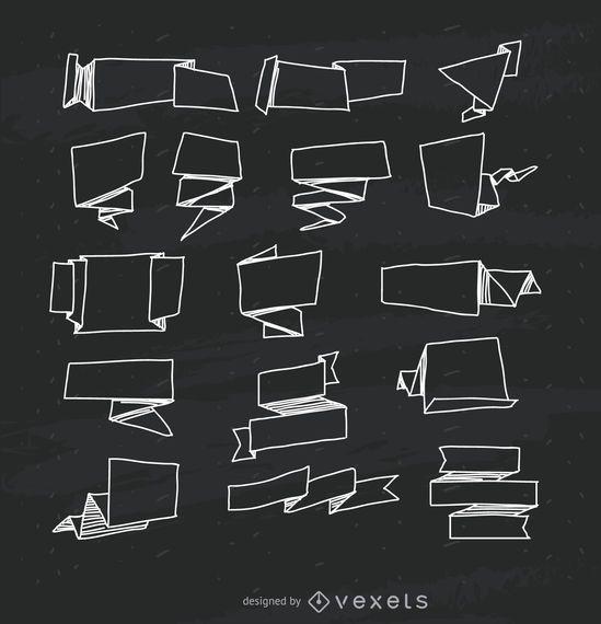 Colección de paquetes de cintas dibujadas a mano