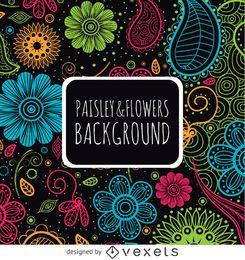 Blumiger Paisley-Hintergrund in hellen Farben