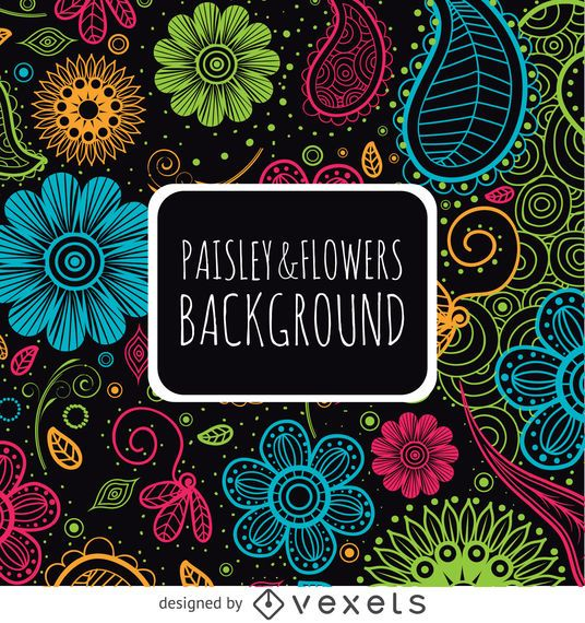 Floral paisley backdrop in bright colors
