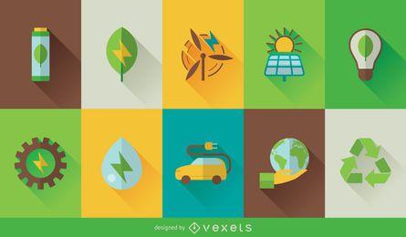 Conjunto de iconos de tecnología ecológica
