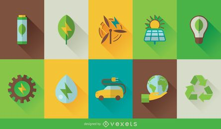 Eco technology icon set