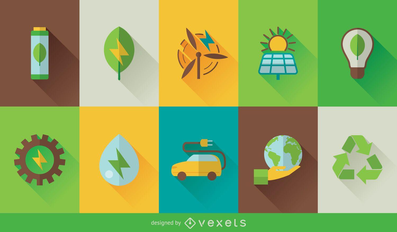 Conjunto de ícones de tecnologia ecológica