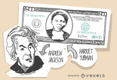 Nota de 20 dólares com Harriet Tubman