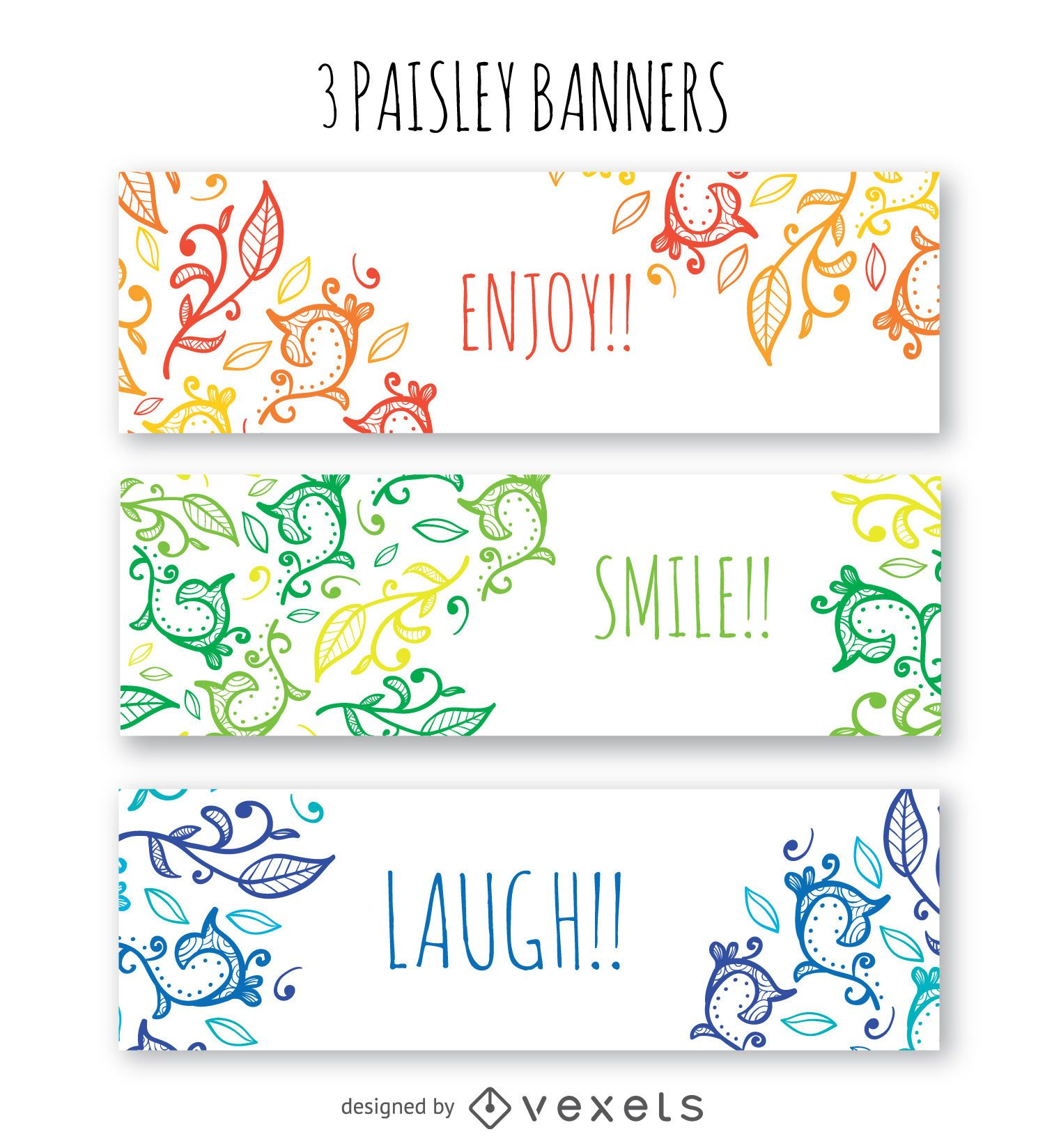 3 floral banners