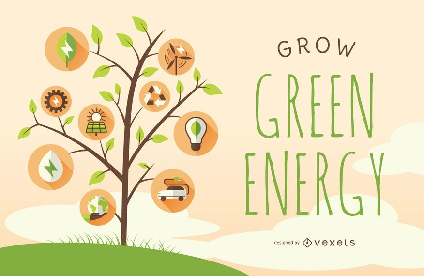 Cartel de energía verde con arboles e iconos.