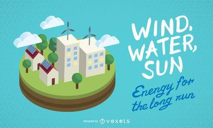 Vento, água, bandeira de ecologia de sol