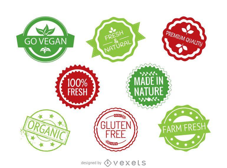 Round food labels set