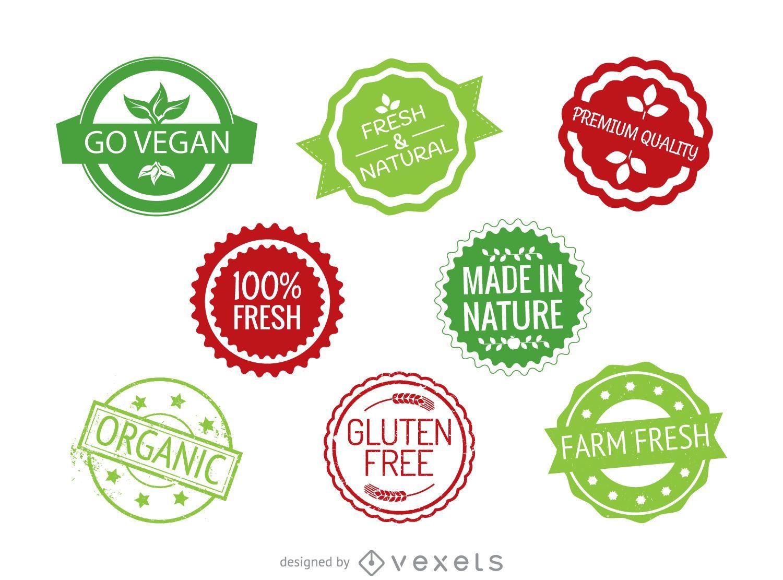 Conjunto de etiquetas de alimentos redondas