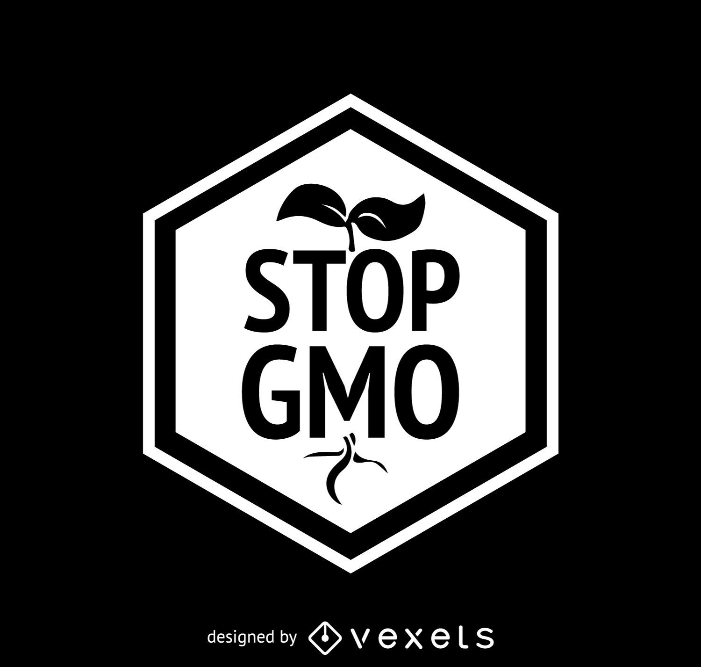 Stop GMO label on polygonal frame
