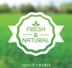 Emblema de productos frescos y naturales.