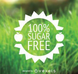 Zuckerfreies Lebensmitteletikett im flachen Design