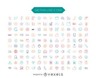 Thin line social media icon set