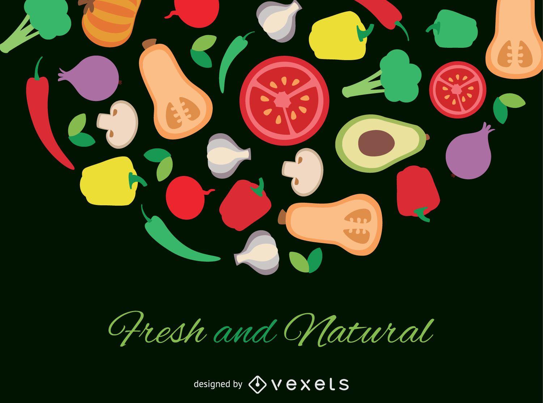 Cartel de verduras planas frescas y naturales.