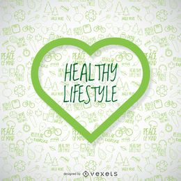 Papel de parede de estilo de vida saudável com coração verde