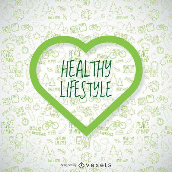 Fondo de pantalla de estilo de vida saludable con corazón verde