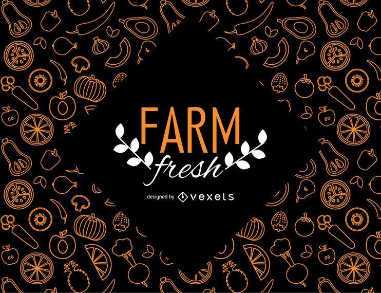 Papel de parede fresco de fazenda com legumes