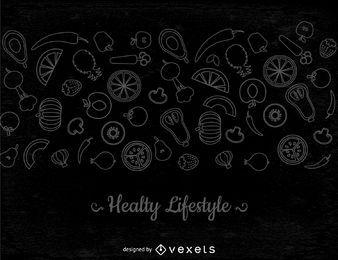 Banner de verduras de línea delgada