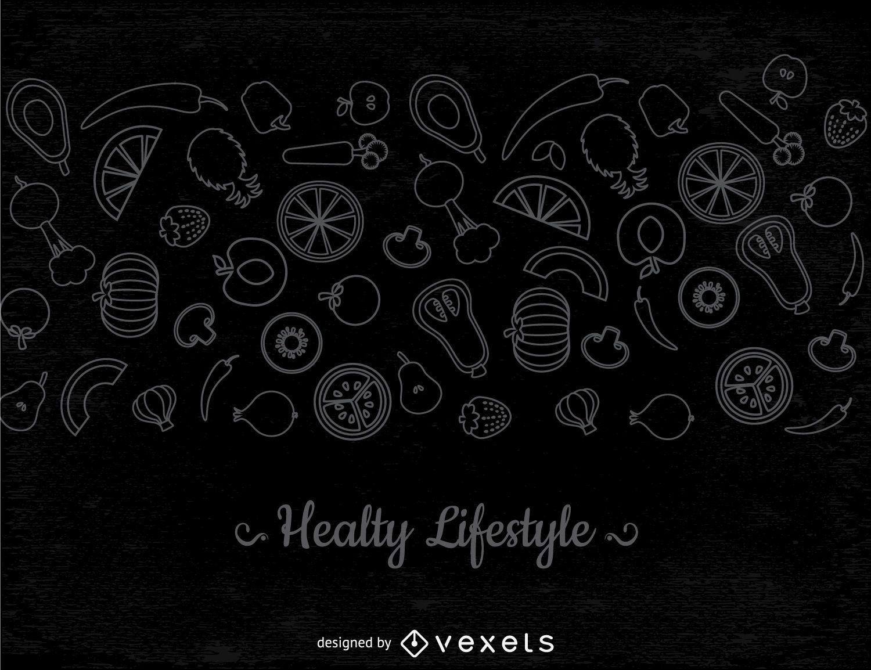 Thin line vegetables banner