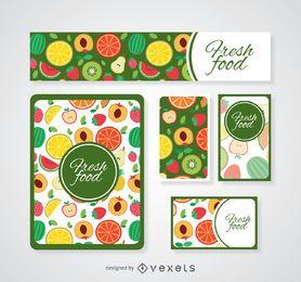 Plantillas coloridas de tarjetas de alimentos frescos