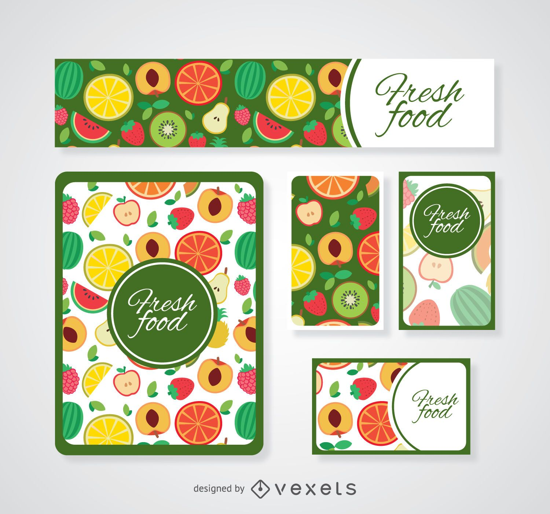 Colorful fresh food card templates