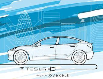 Tesla car wallpaper in blue tones