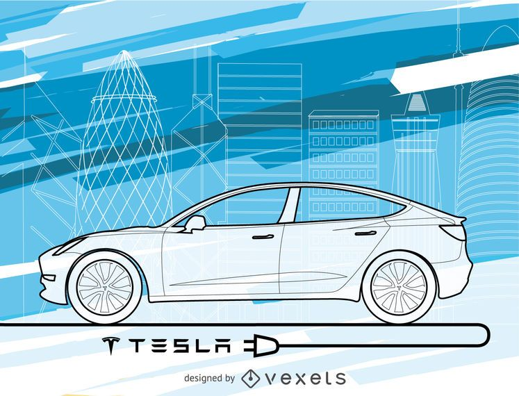 Tesla car wallpaper in blue tones