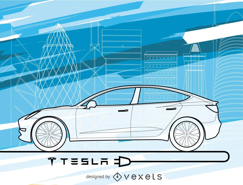 Papel pintado del coche Tesla en tonos azules