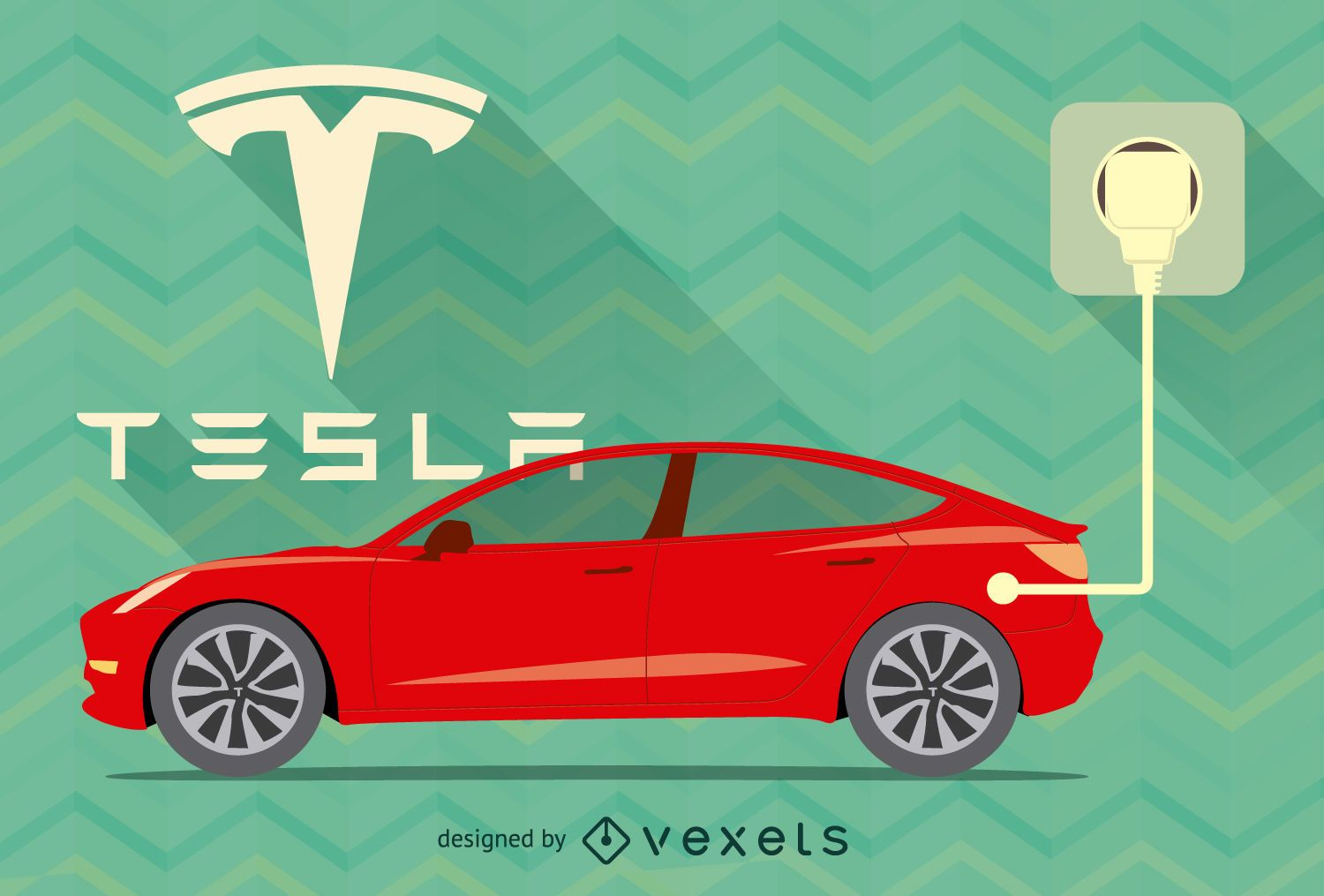 Red Tesla car vector with logo and plug