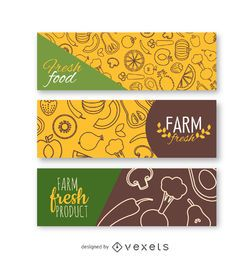 Conjunto de bandeira de legumes frescos