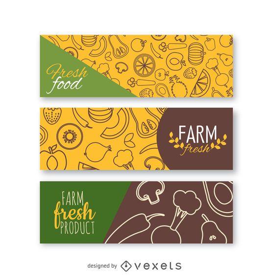 Fresh vegetables banner set