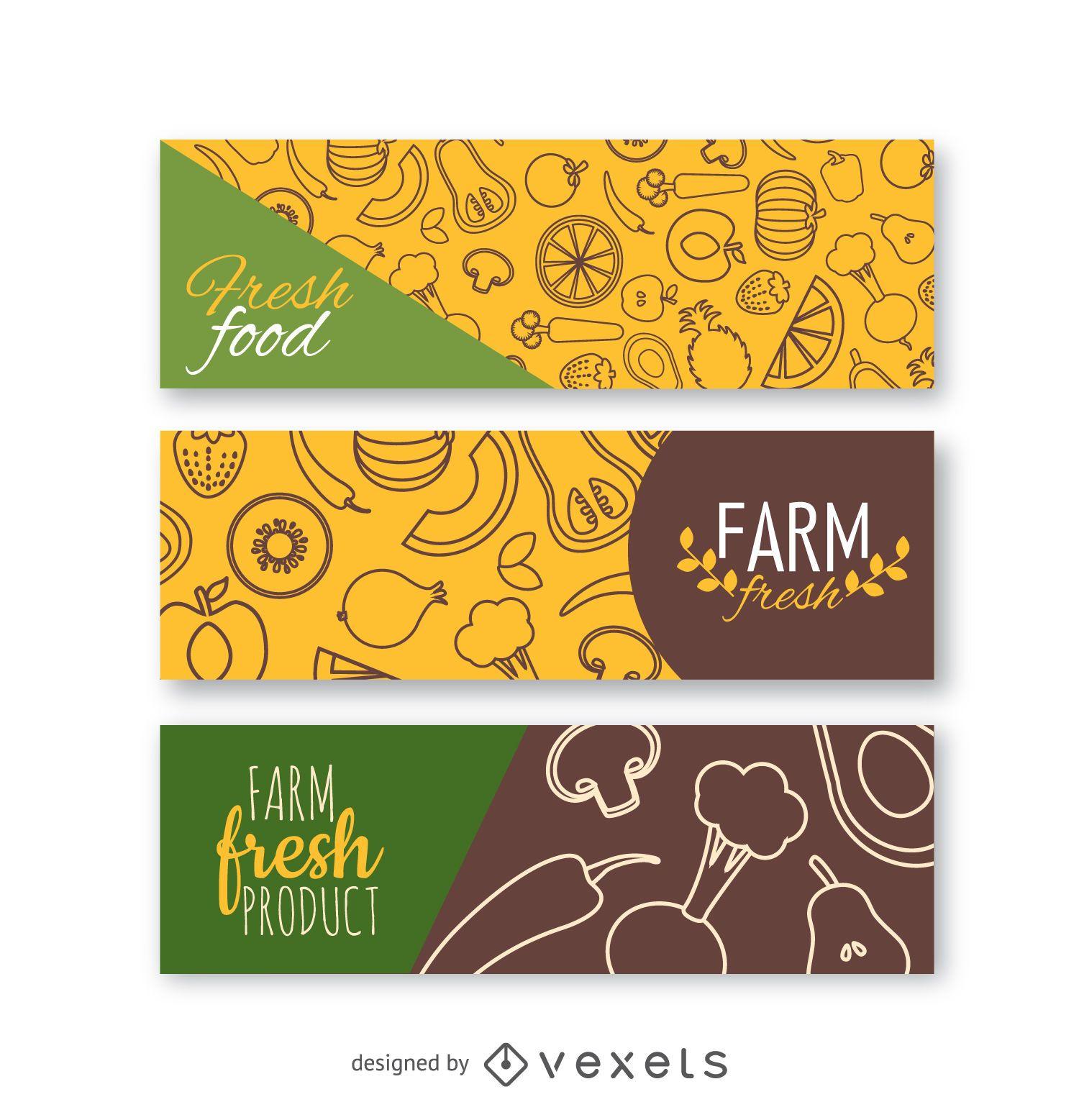Conjunto de banners de verduras frescas