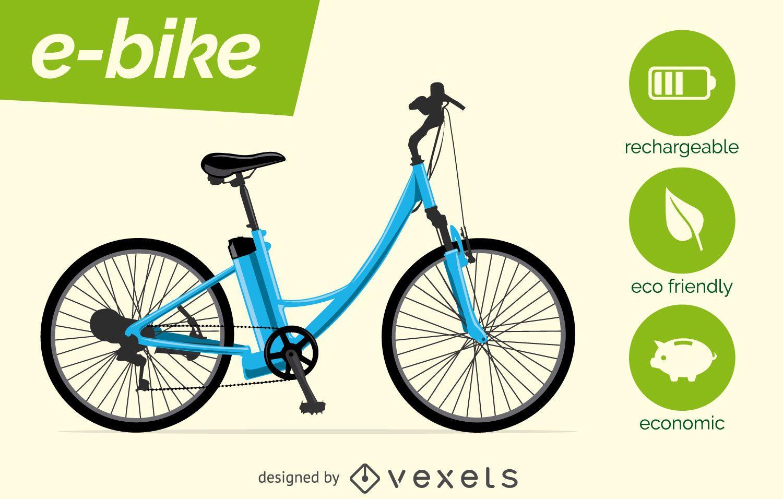 Vector de bicicleta eléctrica con características.
