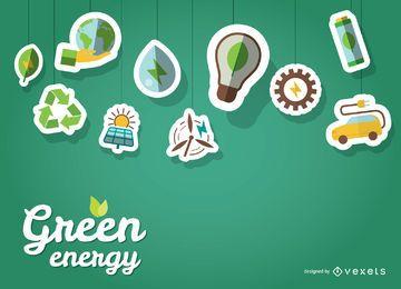 Papel de parede verde da energia com adesivos