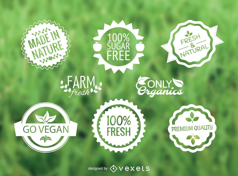 Conjunto de vectores de etiquetas de alimentos