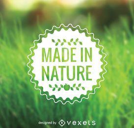 Hecho en la etiqueta de la comida de la naturaleza